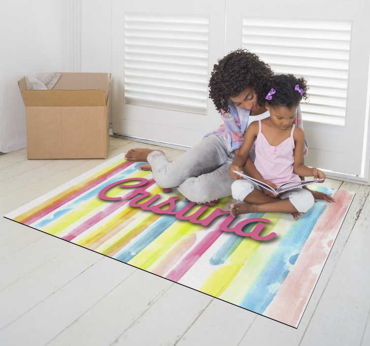 TenStickers. Watercolour striped carpet with name stripes. Fantastic striped vinyl carpet with a name that will have an enviable decoration and that will surprise you every time you look at it !