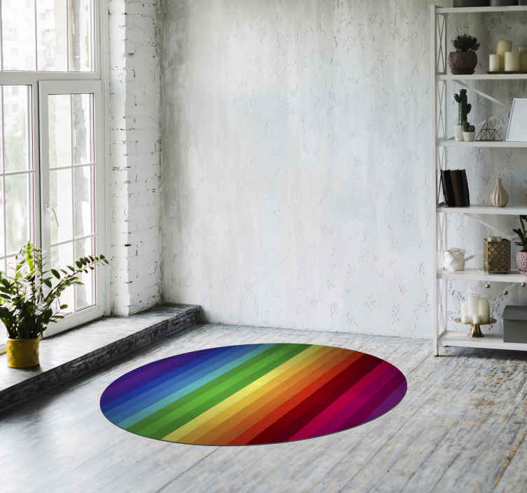 TenStickers. Vinyl rainbow carpet round stripes. Do you like rainbows? Well, you'll be pleased to know that you can now have one in your own home for a small price! Extremely long-lasting material.