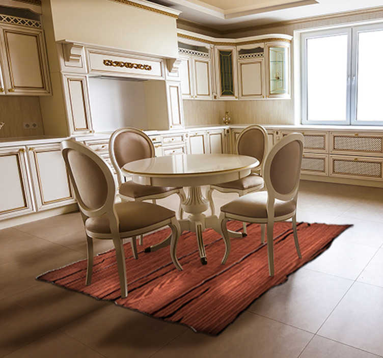 TenStickers. Wood textured striped vinyl rug. A magnificent striped vinyl carpet with a wooden plank effect that will give your home an exclusive and different decoration!