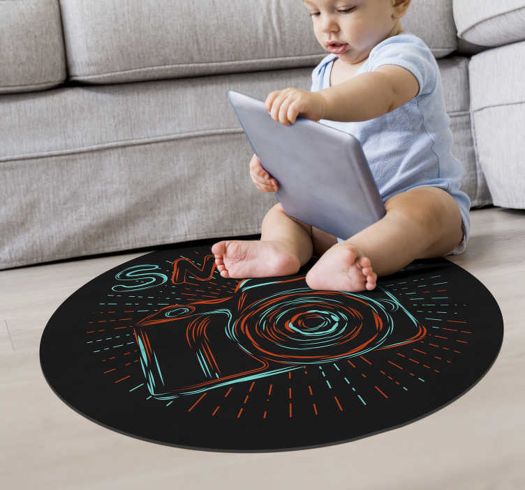 TenStickers. Retro camera vinyl rug vintage style vintage. Fantastic vintage vinyl carpet to decorate your house, you can put it in any part of your house and rest assured it will look incredible!