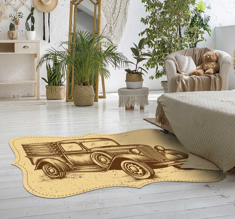 TenStickers. Vintage style truck rug. If you're looking for a vintage design here's the solution, vintage vinyl carpet with the image of a van! Anti-bubble vinyl.