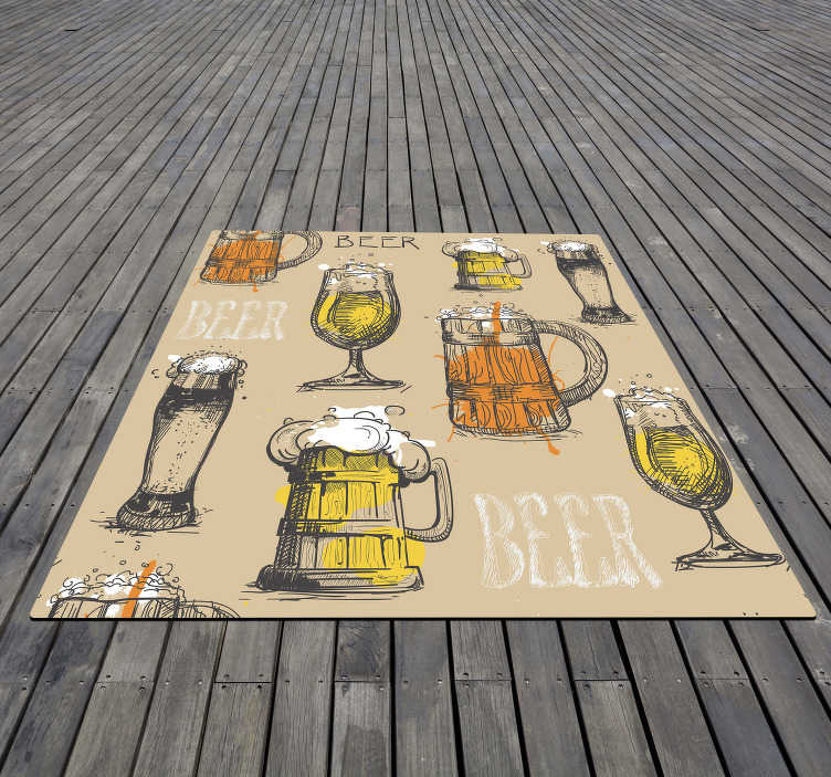TenStickers. Vintage vinyl rug - beer glasses. This vintage vinyl rug is great to put in the home of those who are passionate about this great drink, and also for businesses!