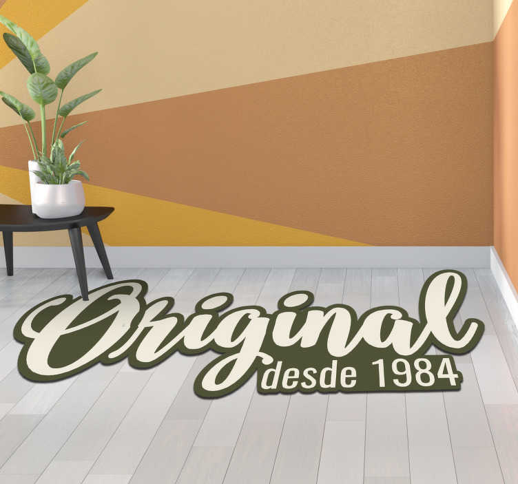 TenStickers. Vinyl carpet original text customizable year. Vintage vinyl carpet with text that you can use to have a personalized decoration! Personalised stickers. Buy now for a great design!