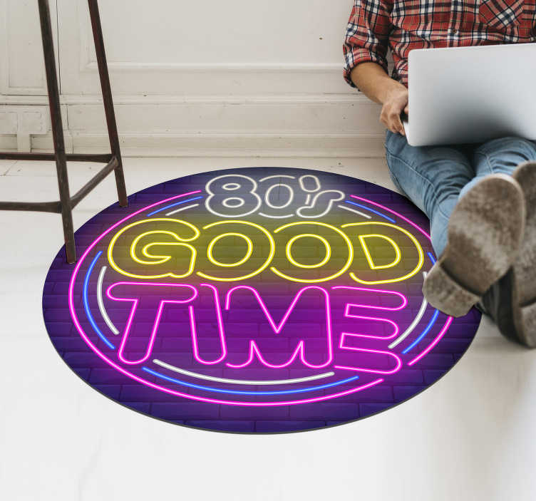 TenStickers. Vintage vinyl rug - 80's good time vintage. Made from some of the highest quality materials on the market, this design wont wear down, or let you down, no matter how much you walk on it!