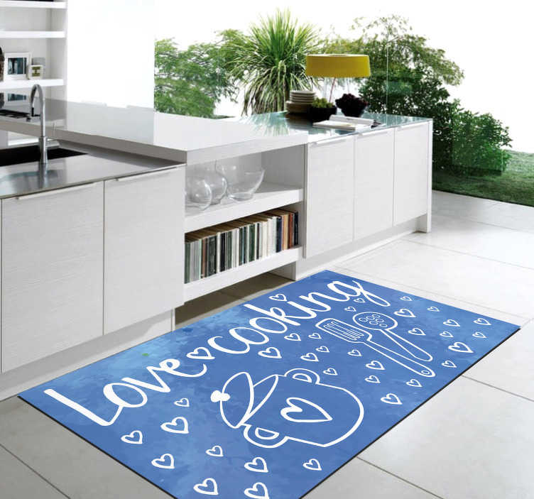 TenStickers. Vinyl rug - I love cooking. Exclusive vinyl carpet with text to put in your kitchen and with which you can reflect your personality ! Easy to apply.