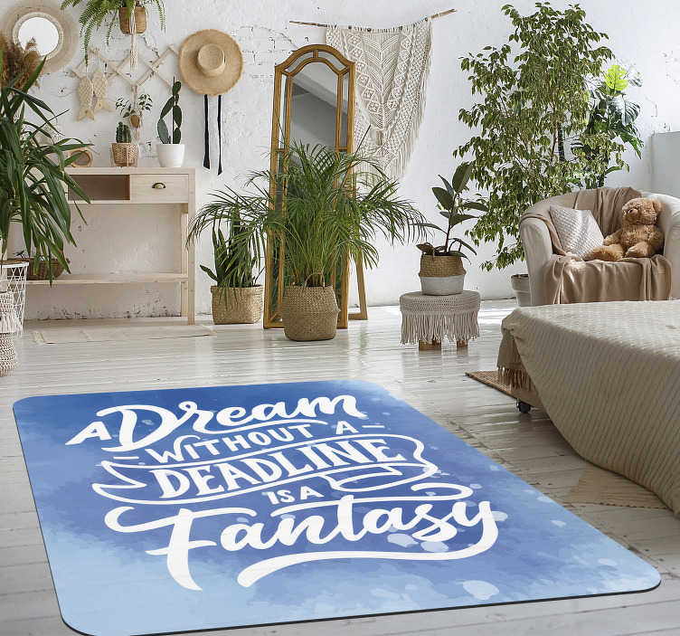 "TenStickers. Vinyl carpet dream phrase. Wonderful vinyl carpet with text in English with the phrase ""DREAM WITHOUT LIMITS IS A FANTASY""! Available in 50 colours."