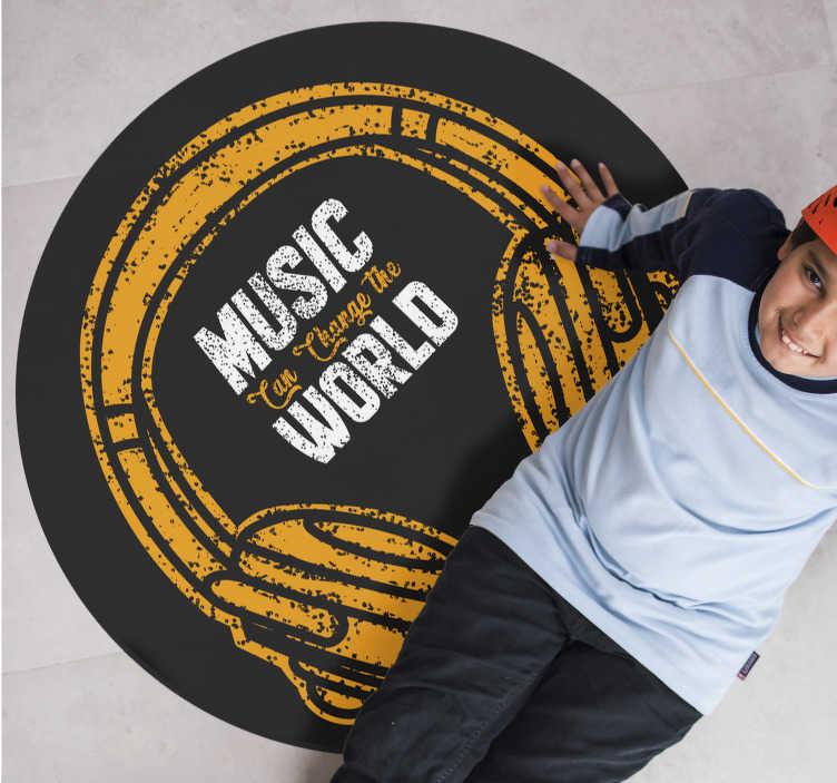 TenStickers. 비닐 깔개 음악은 세상을 바꿀 수 있습니다. 누가 음악을 좋아하지 않습니까? 기분을 바꾸지 않는 사람은 누구입니까? 지금 당신은 텍스트와 비닐 카펫으로 음악의 힘을 선명하게 만들 수 있습니다!