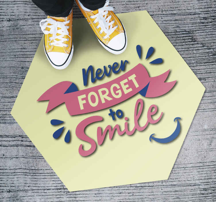 TenStickers. Vinyl carpet text smile more. Incredible vinyl carpet with English text that will help you boost your happiness and motivate you in your day-to-day life!