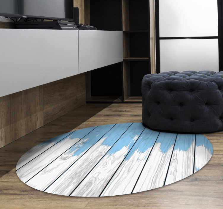 TenStickers. white and blue wood vinyl rug. With this round white and blue wood vinyl carpet you will be able to greatly improve the aspect of your house with a really little expense!