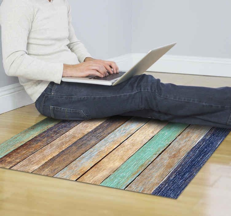 TenStickers. aged colored wood vinyl rug. This amazing aged colored wood vinyl carpet is the perfect choice for transforming completely the aspect of your house! Personalizable size.