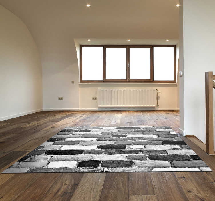 TenStickers. black and white stone effect vinyl rug. This fantastic black and white stone vinyl rug is something perfect for decorating in a stunning way every part of your house!