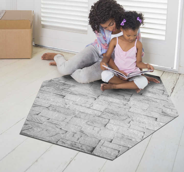 TenStickers. hexagonal stone effect vinyl rug. With this fabulous hexagonal texture stone vinyl rug you can radically improve your house with an original and elegant decoration!