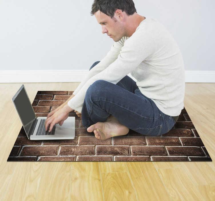 TenStickers. 砖效果石效果乙烯基地毯. 使用这种奇妙的砖效果乙烯基地毯来极大地改善您的房屋设计!选择最适合您需求的尺寸!