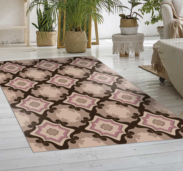 TenStickers. barroque tiles vintage vinyl rug. With his marvellous barroque tiles vintage vinyl rug you will be able to drastically improve the aspect of every room of your house!