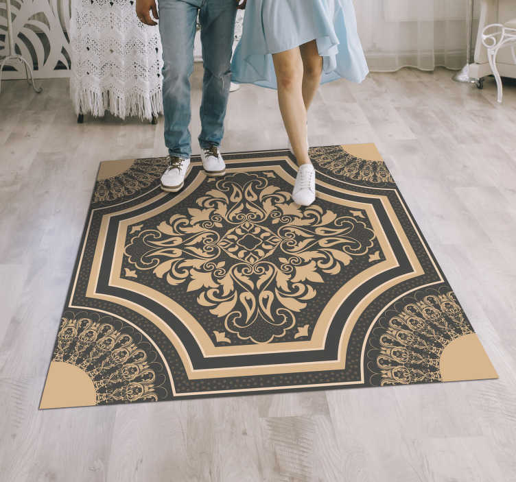 TenStickers. Barroque style vintage vinyl carpet. Take a look at this  fantastic barroque style vintage vinyl rug and fall in love with this innovative and new way to decorate your house!