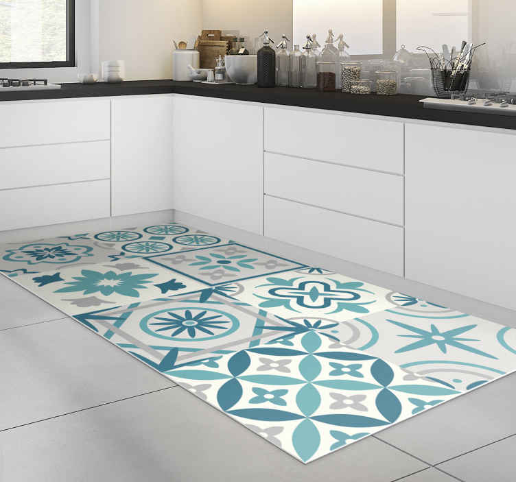 TenStickers. Eclectic turquoise vinyl kitchen rug. This eclectic turquoise vinyl kitchen mat is what you really need for changing completely the way your kitchen appears usually!