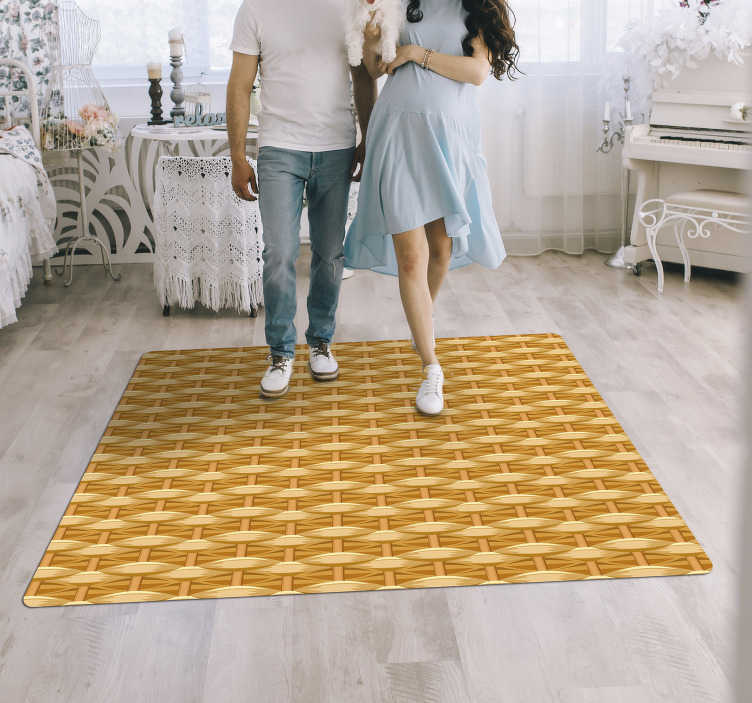 TenStickers. Braided texture wood vinyl rug. This braided texture wood effect vinyl carpet is what your house needs for an amazing renewal of its interior decor! Trust the quality of our material