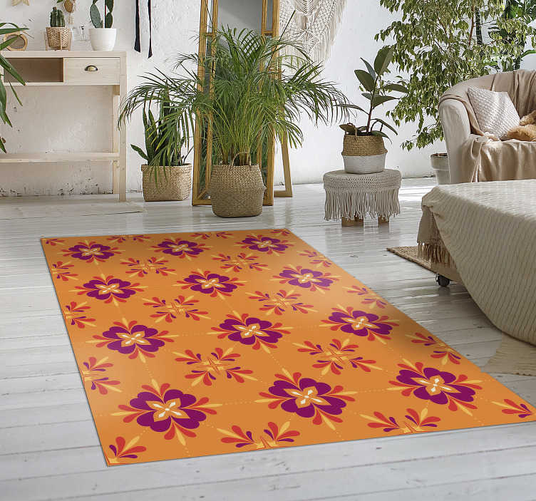 TenStickers. Colorful tiles vinyl kitchen rug. Take a look at this gorgeous colorful tiles vinyl kitchen mat and surprise everyone with the precious details of this great product!
