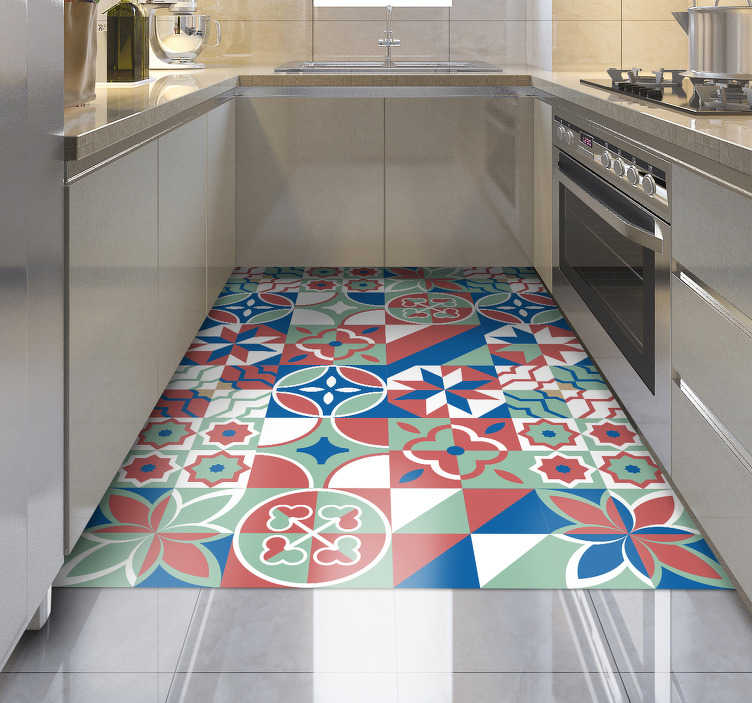 TenStickers. Different patterns vinyl kitchen rug. Bring home this different patterns vinyl kitchen mat and get in your house a really beautiful detail capable of improving a lot your rooms!