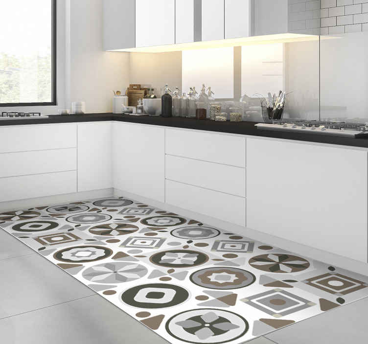 TenStickers. Kitchen tile  vinyl rug. This amazing tile vinyl kitchen mat is a really great choice for improving a lot the visual effect of every part of your house!