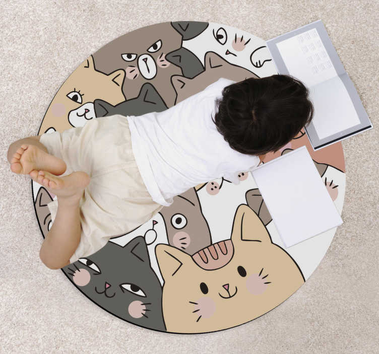 TenStickers. Round cats kids vinyl rug. This marvellous round cats kids vinyl rug is the ultimate solution for improving greatly all the decoration of your kid's room!