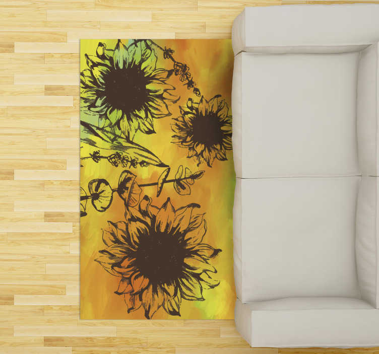 TenStickers. colorful flower living room rug. Try this fabulous colorful flower vinyl living room rug and you will see how much different would appear your rooms in your house!