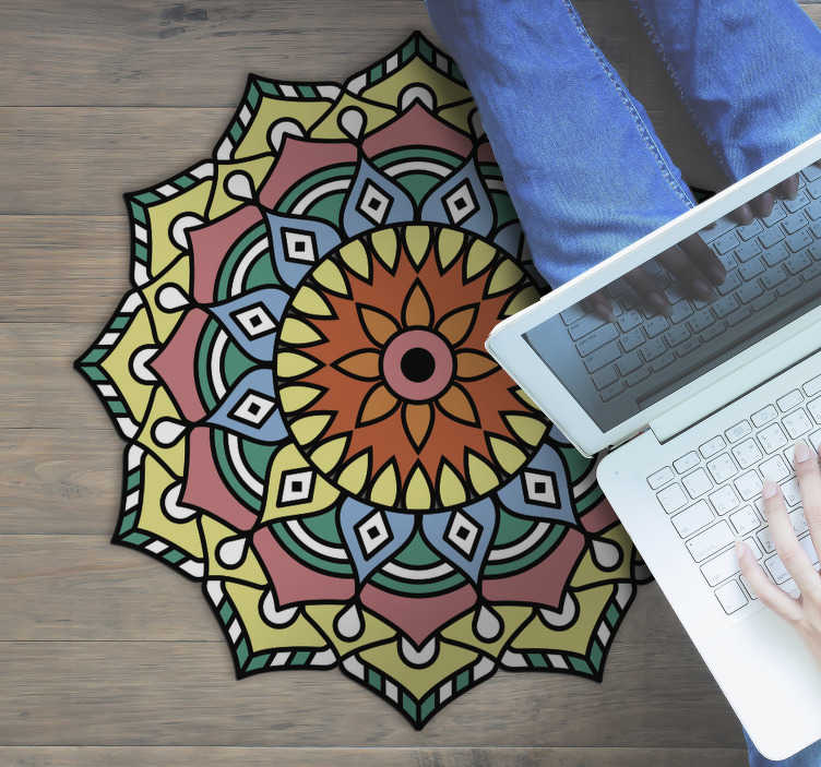 TenStickers. colorful mandala flower shaped mandala vinyl rug. This colorful mandala flower shaped vinyl rug is exactly what you were looking for since so long! Trust our really high quality vinyl!