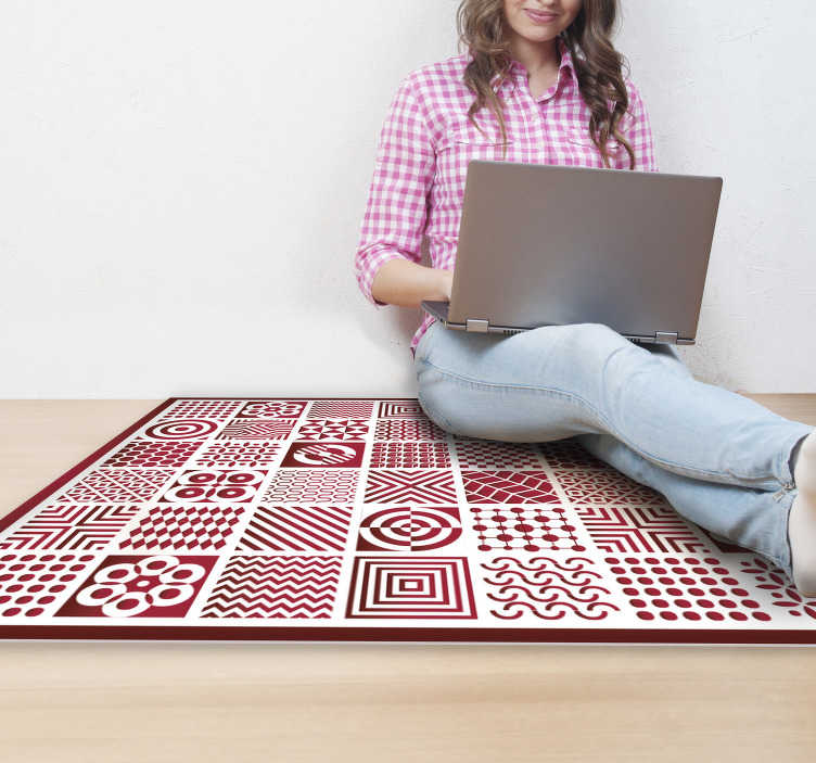 TenStickers. colorful tiles office vinyl carpets. This spectacular colorful tiles vinyl rugs is a really fantastic way to decorate your house! Trust our really high quality vinyl!