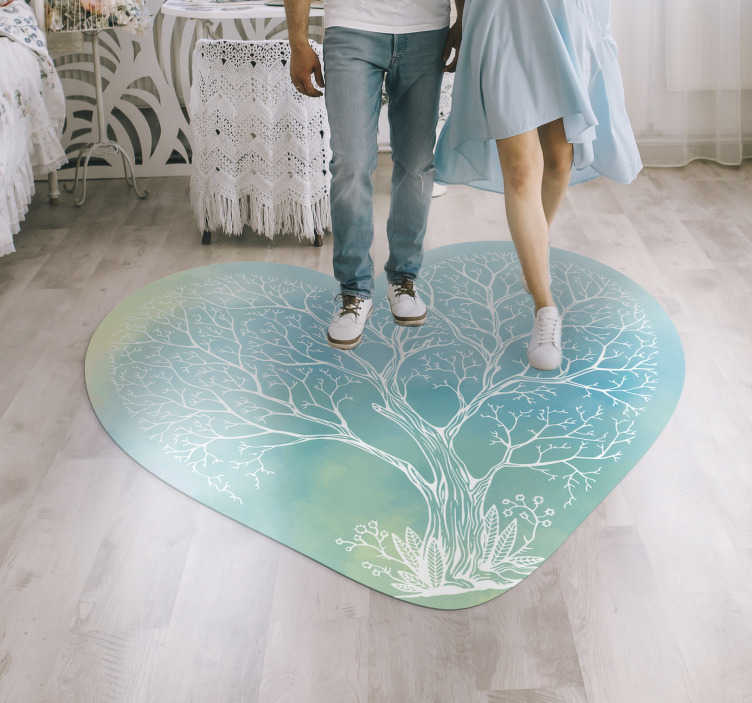 TenStickers. heart shaped colorful tree bedroom vinyl rug. This heart shaped colorful tree vinyl bedroom rug can be the ultimate choice for making a real difference in your house decor!