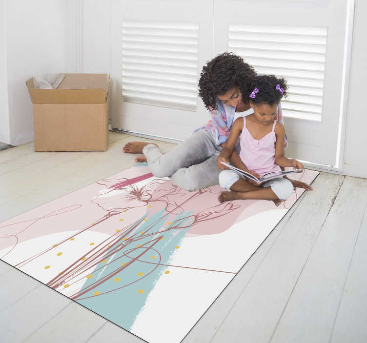 TenStickers. floral modern vinyl carpet. Admire this marvellous floral modern vinyl rug and donate to your kids something really enchanting, capable of transforming  their bedroom!