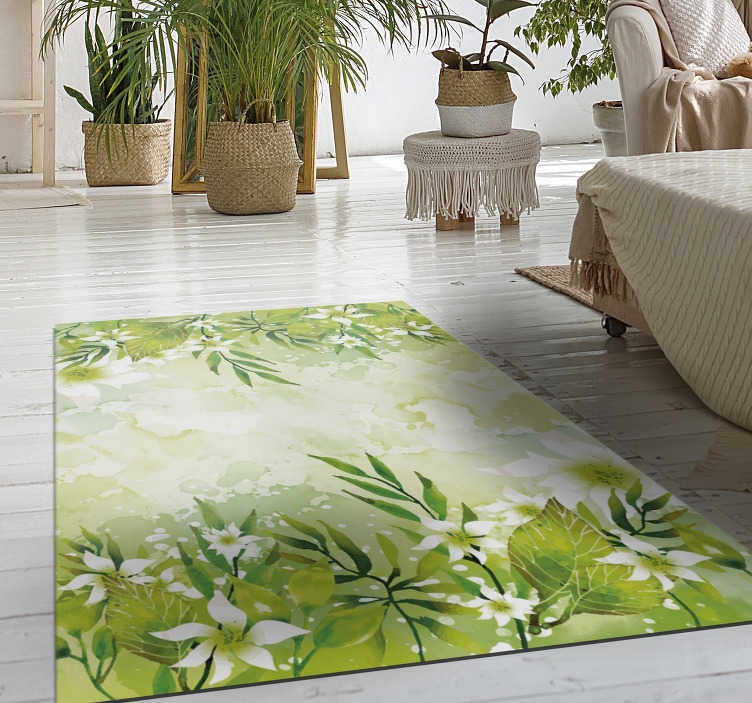 TenStickers. floral motifs bedroom vinyl rug. Thanks to this amazing floral motifs vinyl bedroom rug  you will be able to renew drastically the visual impact of all your house decor!