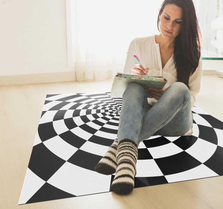 TenStickers. Black and white rectangular geometric vinyl carpet. Fantastic black and white rectangular vinyl carpet that will give you a different decoration and that you can enjoy for a long time!