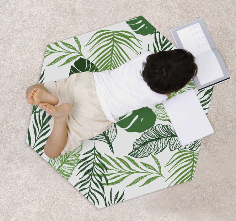 TenStickers. Fine leaf modern vinyl carpet. Wonderful round vintage vinyl carpet with which you will have a home decoration that everyone will envy! Fast delivery!!