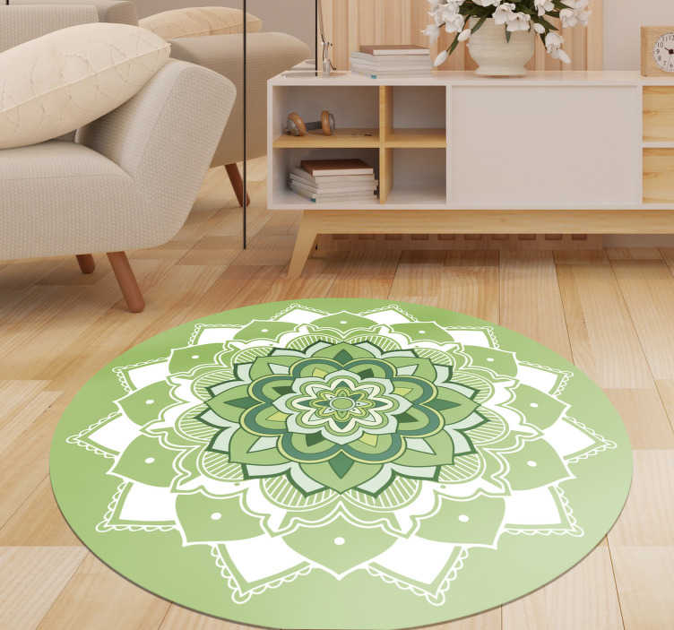 TenStickers. Green  floral mandala vinyl carpet. Incredible green mandala vinyl rug for you to decorate your home with exclusivity and originality! Choose your size for the perfect fit!