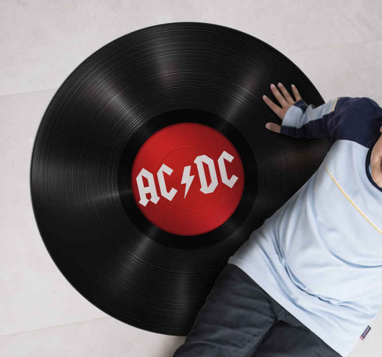 TenStickers. Rock music ACDC vintage vinyl rug. This wonderful rock music ACDC vinyl rug is what your house rooms need to be really representative of your tastes and your personality!