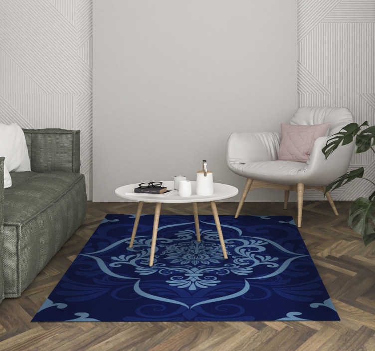 TenStickers. Rectangular blue mandala vintage vinyl carpet. This marvellous rectangular blue mandala vintage vinyl rug is a really fantastic way of decorating your house with just a little expense!