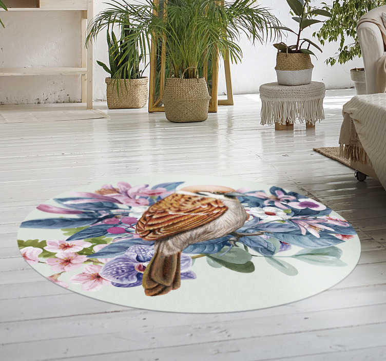 TenStickers. 圆鸟动物乙烯基地毯. 有了这个宏伟的圆形鸟乙烯基地毯,您将有一种奇妙的方式来装饰房子的每个房间!
