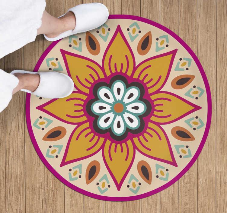 TenStickers. Tappeto rotondo in vinile mandala a fiori. Perché non pensi di usare questo splendido tappeto rotondo in vinile con mandala per entrare nella tua casa un elemento visivo davvero incredibile