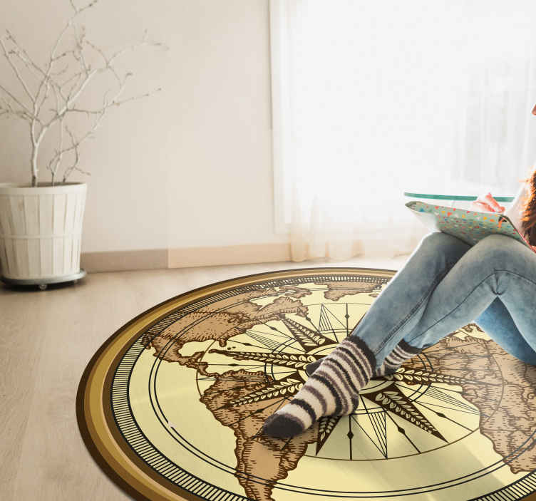 TenStickers. Round vintage world map vinyl carpet. This wonderful round vintage world map vinyl rug  can be the best solution for improving incredibly the visual impact of your rooms!