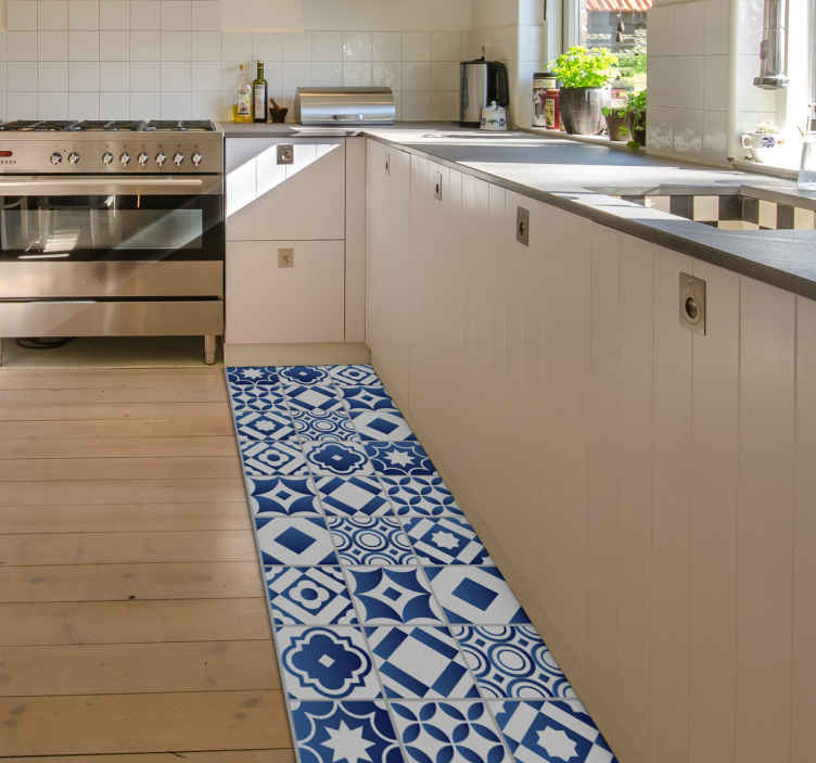 TenStickers. elegant tile  vinyl kitchen rug. This elegant tiles vinyl kitchen mat is what you really need to improve a lot the aspect of also this part of your house!
