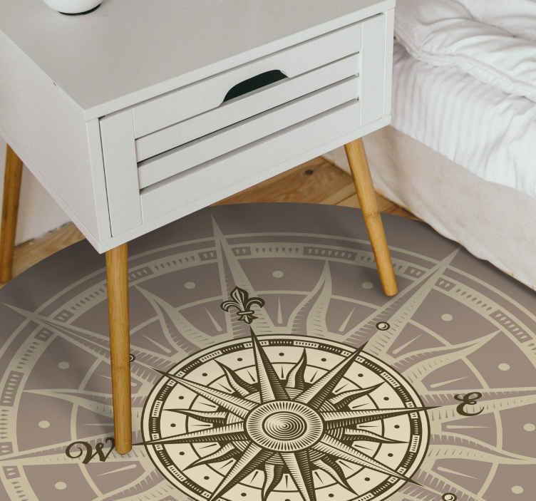 TenStickers. round vintage compass vinyl carpet. This  wonderful round vintage compass vinyl rug is your best solution for improving a lot the aspect of every room of your house!