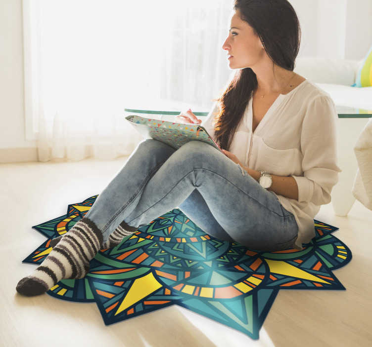 TenStickers. Zen  mandala vinyl carpet. Thanks to this marvellous zen mandala style vinyl rug you can now incredibly improve every room of your house with a really little expense!