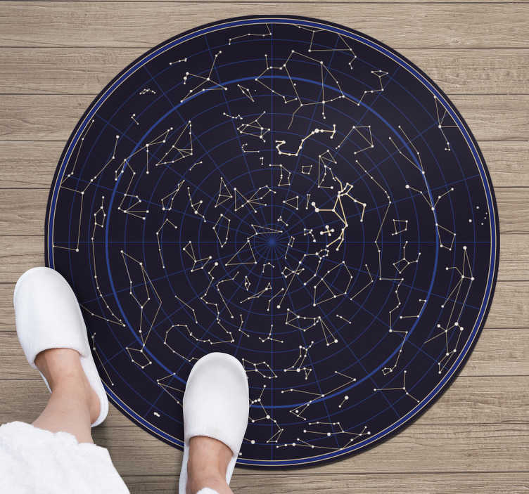 TenStickers. Round zodiac costellations vinyl carpet. This wonderful round zodiac costellations vinyl rug is a great choice if you want to bring in your house something really special!