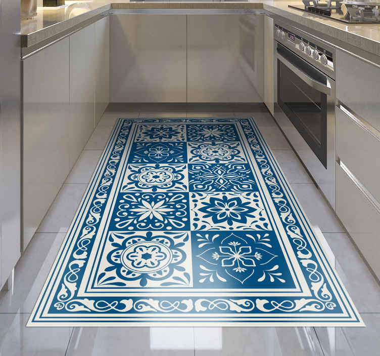TenStickers. classic blue tiles vinyl kitchen rug. Admire the unique beauty of this amazing classic blue tiles vinyl kitchen mat! You have found the best solution for improving your kitchen!