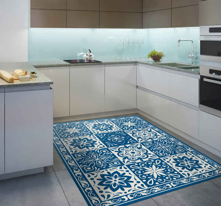 TenStickers. floral blue tiles vinyl kitchen rug. This amazing floral blue tiles vinyl kitchen mat is exactly what you were looking for! Try the really high quality of our vinyl!