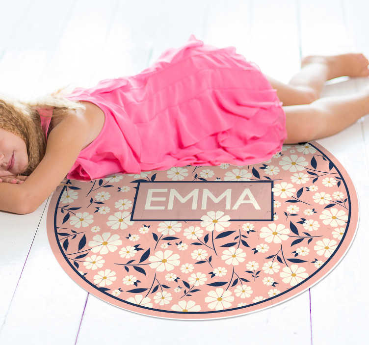 TenStickers. Personnalised floral personalised vinyl rug. Do you want a different decoration that will leave everyone surprised? At Tenvinilo you have your design! Extremely long-lasting material.