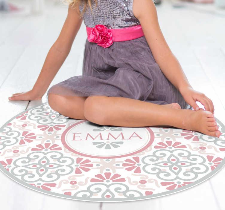 TenStickers. kreisförmiges blumenmuster Personalisierter vinylteppich. Wunderschöner runder vintage-vinylteppich, mit dem sie eine dekoration haben, um die jeder beneiden wird! Wähle deine größe.