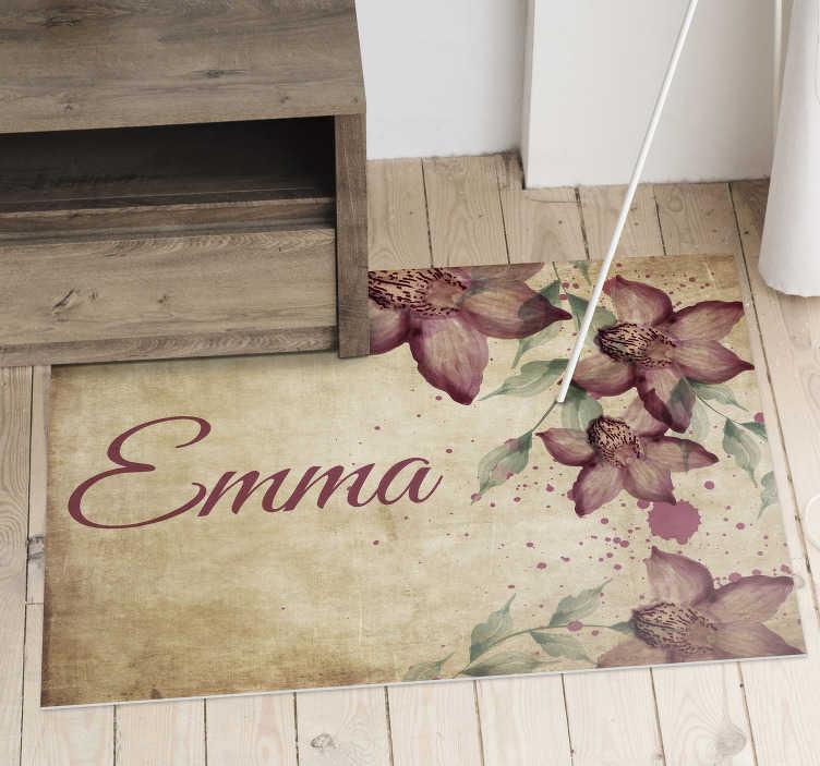 Tenstickers. Vintage florid orkidea henkilökohtainen vinyyli matto. Tämä hämmästyttävä vintage-orkidea-vinyylimatto voi olla loistava ratkaisu sisustaa kaikki lapsesi tilat fantastisella ja omaperäisellä tavalla!