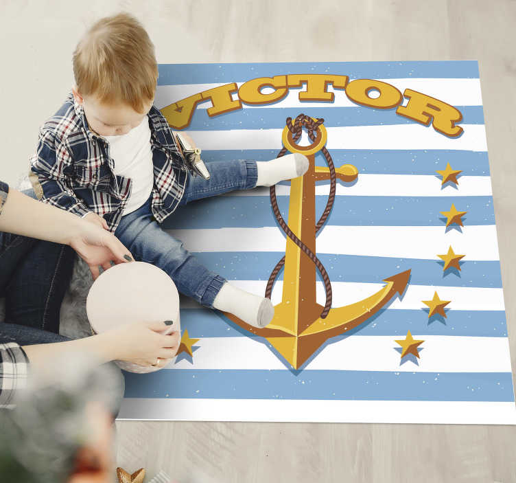 TenStickers. Personalized anchor kids personalised vinyl rug. This personalized anchor kids vinyl rug with name can help you a lot in the decoration of your kid's room! High quality vinyl!