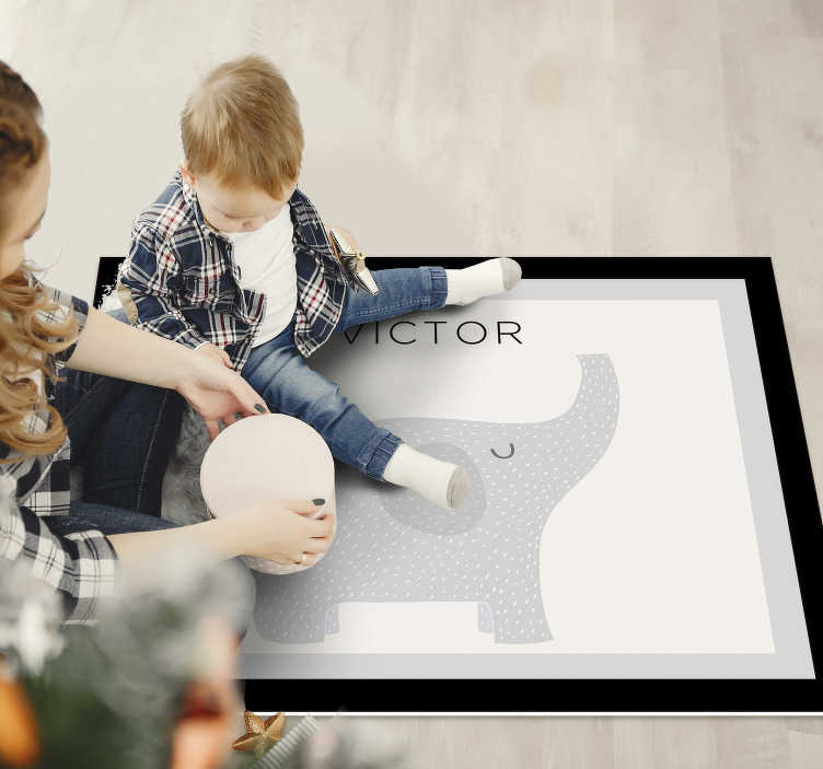 TenStickers. personalizable elephant  personalised vinyl rug. With this personalizable elephant  vinyl rug for kids is now possible for you to renew in a fantastic way the aspect of your kid's room!